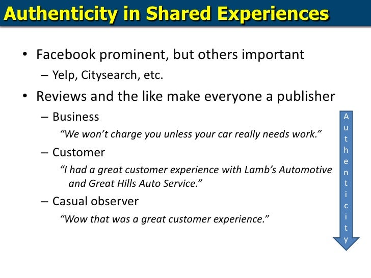 Authenticity in Shared Experiences<br />Facebook prominent, but others important<br />Yelp, Citysearch, etc.<br />Reviews ...