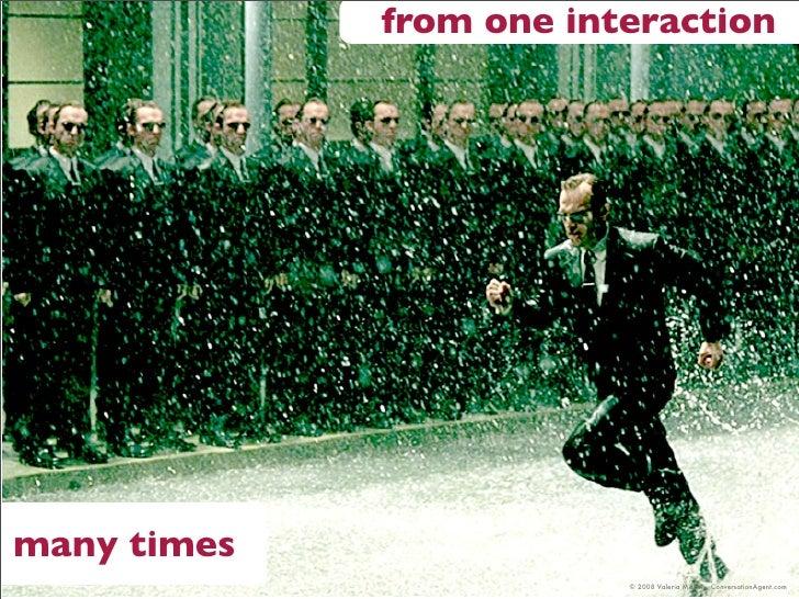from one interaction     many times                          © 2008 Valeria Maltoni, ConversationAgent.com