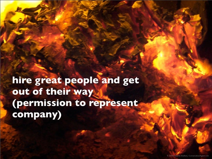 hire great people and get out of their way (permission to represent company)                               © 2008 Valeria ...