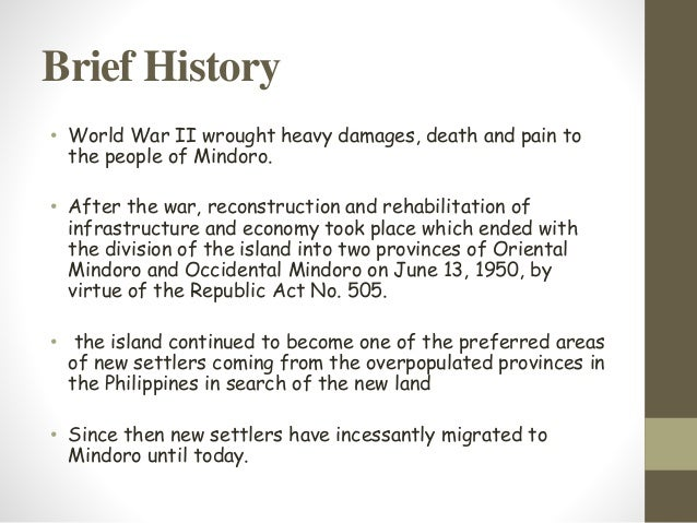 END of Mindoro Province