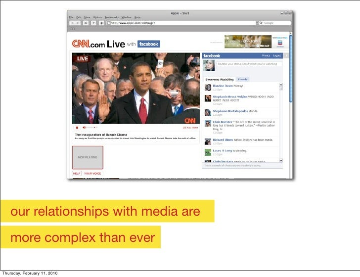 our relationships with media are    more complex than ever  Thursday, February 11, 2010