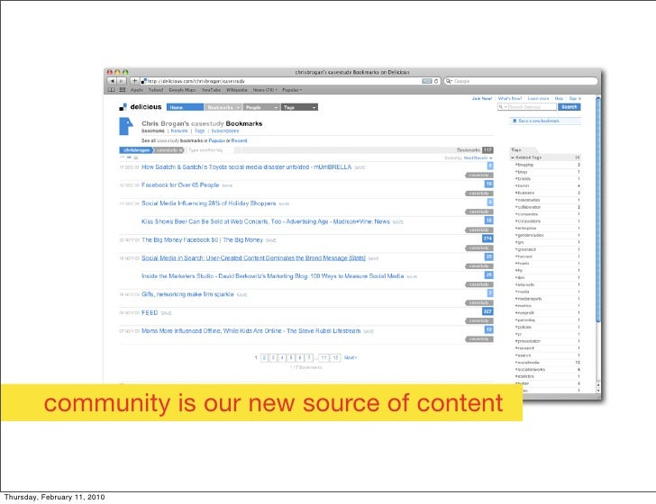 community is our new source of content   Thursday, February 11, 2010