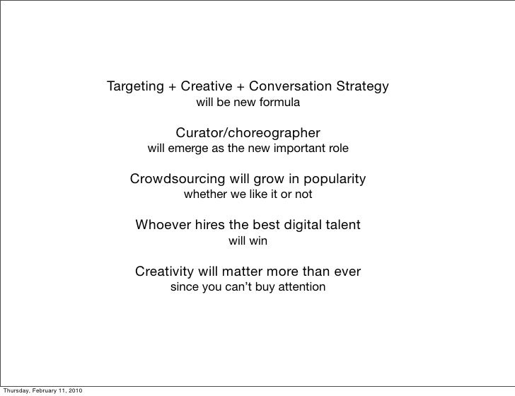 Targeting + Creative + Conversation Strategy                                             will be new formula              ...