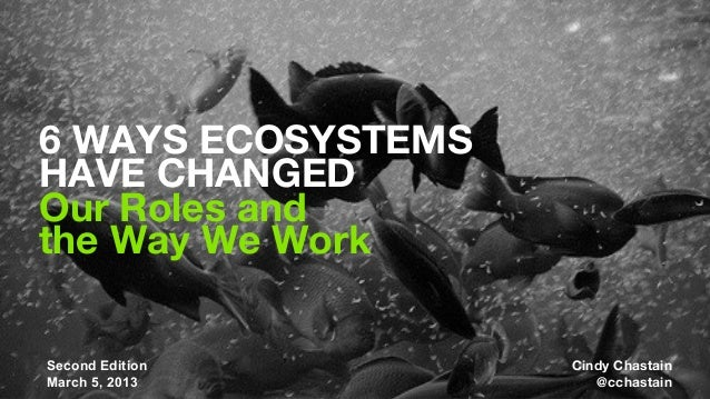 6 WAYS ECOSYSTEMSHAVE CHANGEDOur Roles andthe Way We Work                            Cindy Chastain  MIMA Summit 2012MIMA ...