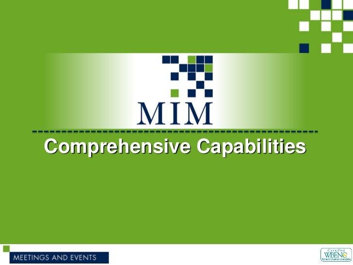 Comprehensive Capabilities