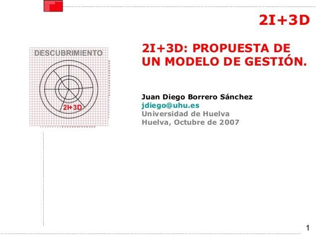 2I+3DDESCUBRIMIENTO   2I+3D: PROPUESTA DE                 UN MODELO DE GESTIÓN.                 Juan Diego Borrero Sánchez...