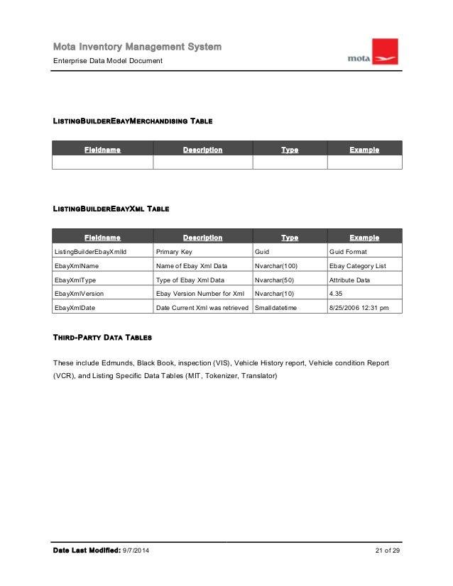 Mota Mims Enterprise Data Model Specification