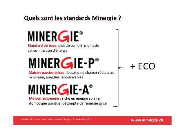 www.minergie.chMINERGIE® – Journée Portes ouvertes| Fully – 17 novembre 2012Quels sont les standards Minergie ?Standard de...