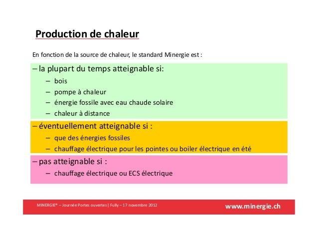 www.minergie.chMINERGIE® – Journée Portes ouvertes| Fully – 17 novembre 2012Production de chaleurEn fonction de la source ...