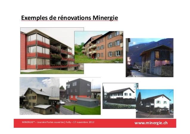 www.minergie.chMINERGIE® – Journée Portes ouvertes| Fully – 17 novembre 2012Exemples de rénovations Minergie
