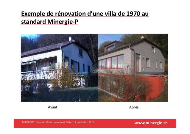 www.minergie.chMINERGIE® – Journée Portes ouvertes| Fully – 17 novembre 2012Exemple de rénovation d'une villa de 1970 aust...