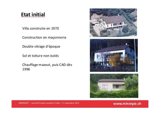 www.minergie.chEtat initialVilla construite en 1970Construction en maçonnerieDouble vitrage dépoqueSol et toiture non isol...