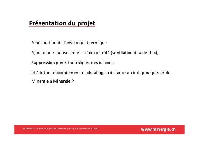 www.minergie.chMINERGIE® – Journée Portes ouvertes| Fully – 17 novembre 2012Présentation du projet− Amélioration de l'enve...