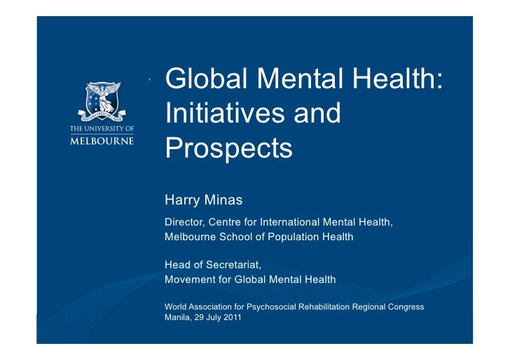 Global Mental Health:                            Initiatives and                            Prospects                     ...