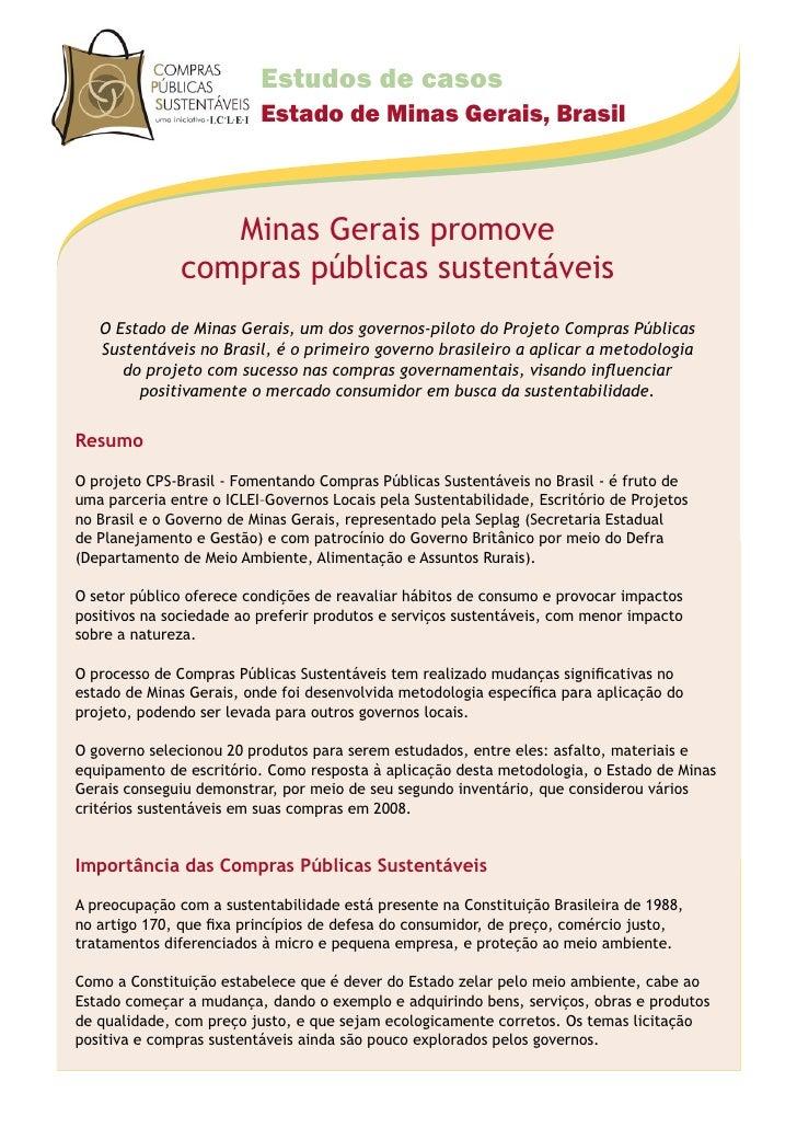 Estudos de casos                           Estado de Minas Gerais, Brasil                      Minas Gerais promove       ...