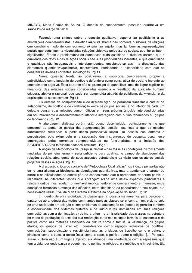 MINAYO, Maria Cecília de Souza. O desafio do conhecimento: pesquisa qualitativa em saúde.28 de março de 2010 Fazendo uma s...