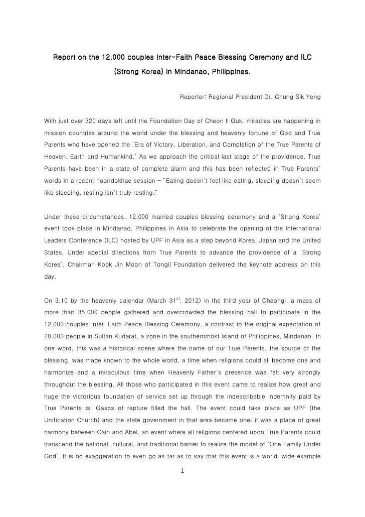 Report on the 12,000 couples Inter-Faith Peace Blessing Ceremony and ILC                           (Strong Korea) in Minda...