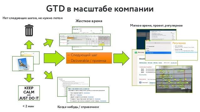 GTD в масштабе компании — Cледующий шаг — Deliverable / приемка < 2 мин Жесткое время Мягкое время, проект, регулярное Ког...