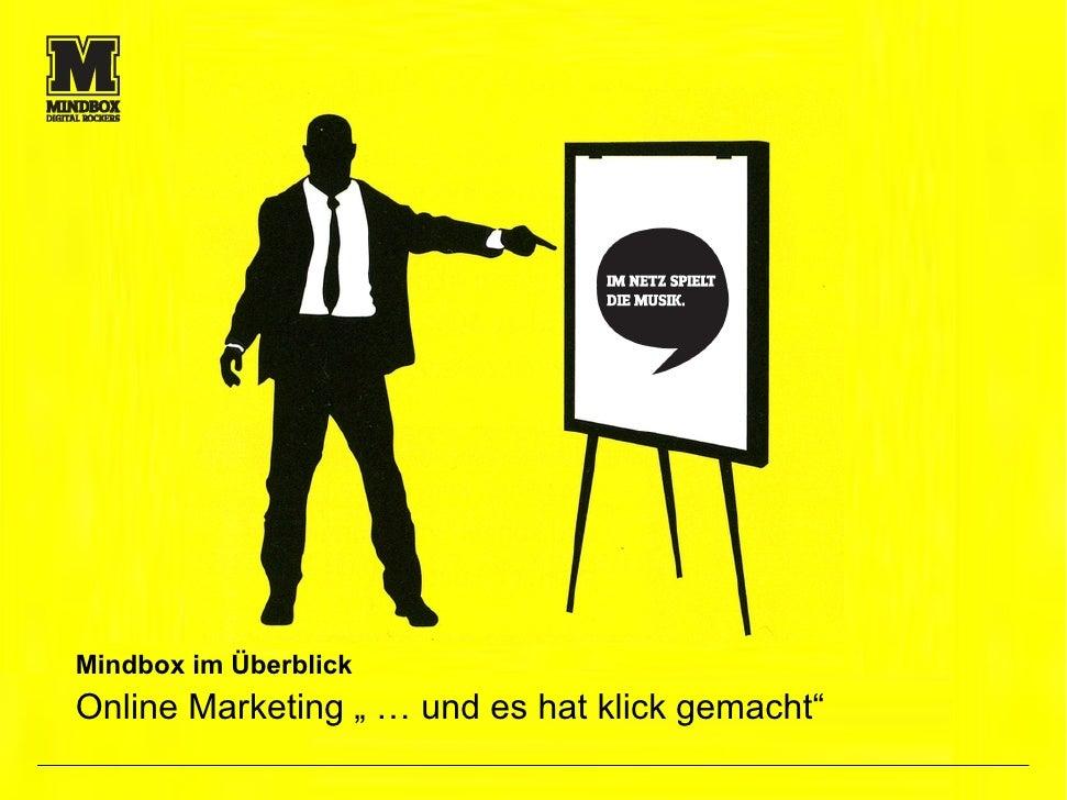 """Mindbox im Überblick Online Marketing """" … und es hat klick gemacht""""                                                  1"""