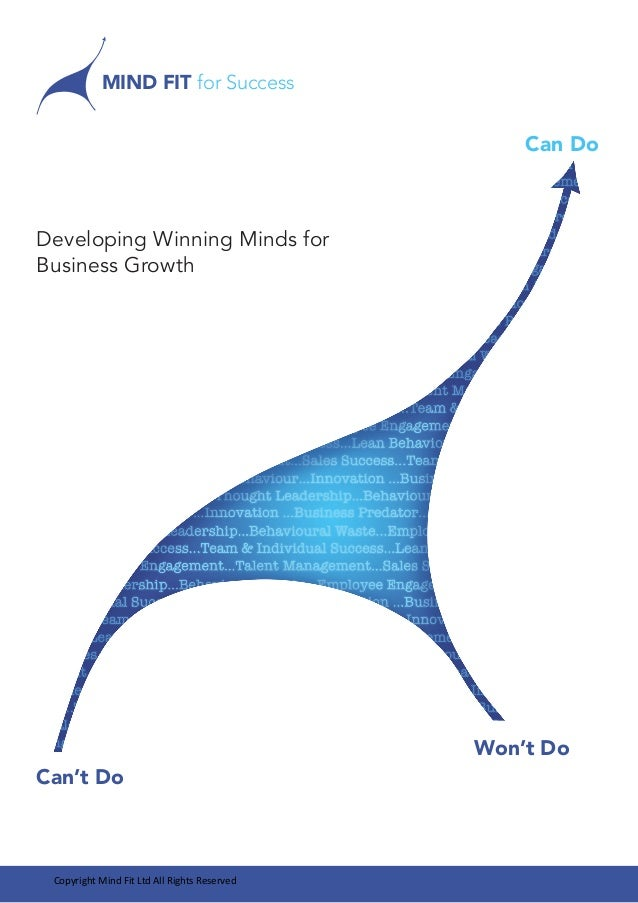 Developing Winning Minds for  Business Growth  MIND FIT for Success  Can Do  Can't Do  Won't Do  Copyright Mind Fit Ltd Al...