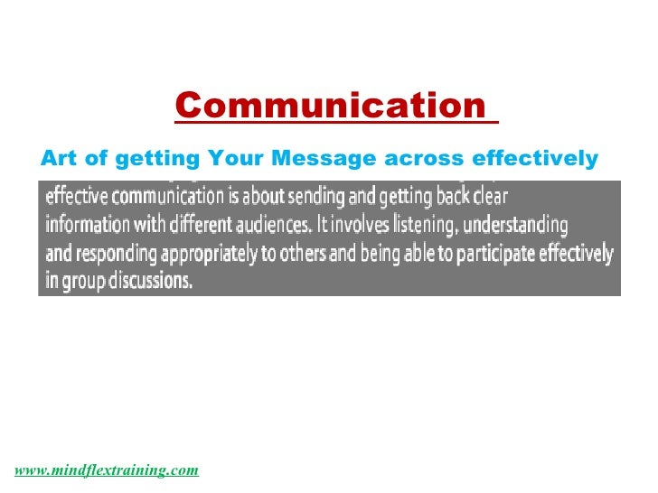 www.mindflextraining.com Communication  Art of getting Your Message across effectively