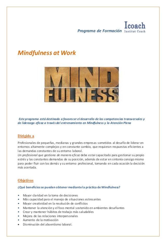 Programa de Formación Mindfulness at Work Este programa está destinado a favorecer el desarrollo de las competencias trans...