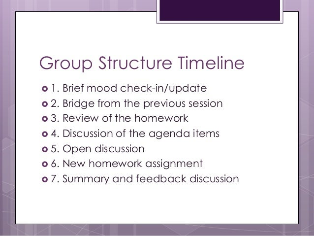 Group Structure Timeline  1. Brief mood check-in/update  2. Bridge from the previous session  3. Review of the homework...