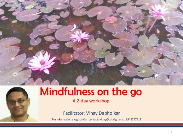 Mindfulness on the go A 2-day workshop Facilitator: Vinay Dabholkar For information / registration contact: vinay@catalign...