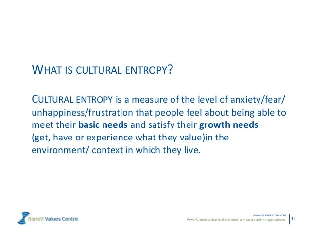 Powerful metrics that enable leaders to measure and manage cultures.www.valuescentre.com11WHAT IS CULTURAL ENTROPY?CULTURA...