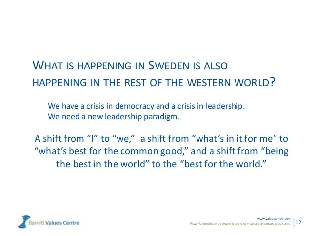 Powerful metrics that enable leaders to measure and manage cultures.www.valuescentre.com12WHAT IS HAPPENING IN SWEDEN IS A...