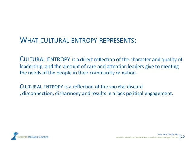 Powerful metrics that enable leaders to measure and manage cultures.www.valuescentre.com20WHAT CULTURAL ENTROPY REPRESENTS...