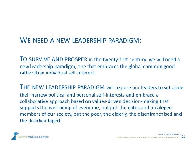 Powerful metrics that enable leaders to measure and manage cultures.www.valuescentre.com21WE NEED A NEW LEADERSHIP PARADIG...
