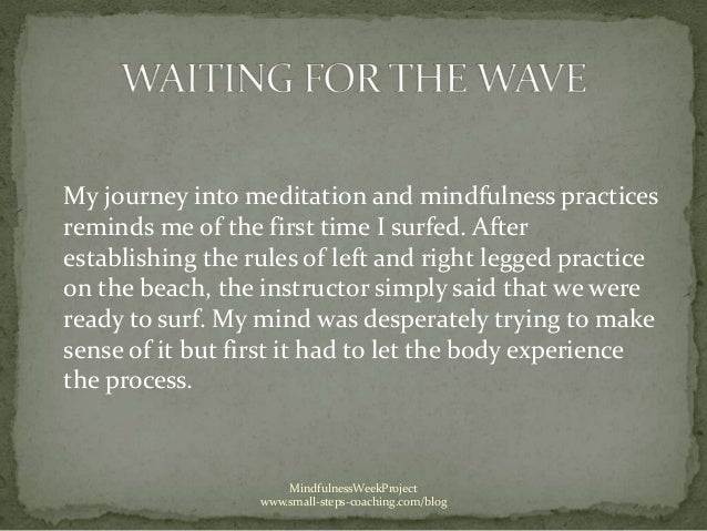 My journey into meditation and mindfulness practicesreminds me of the first time I surfed. Afterestablishing the rules of ...