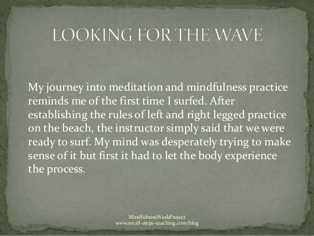My journey into meditation and mindfulness practicereminds me of the first time I surfed. Afterestablishing the rules of l...