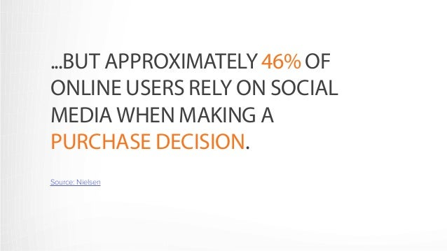 ...BUT APPROXIMATELY 46% OF  ONLINE USERS RELY ON SOCIAL  MEDIA WHEN MAKING A  PURCHASE DECISION.  Source: Nielsen