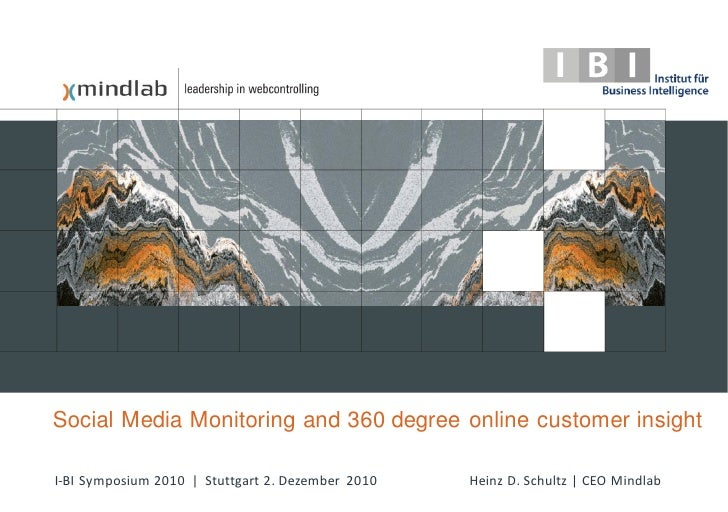 Social Media Monitoring and 360 degree online customer insightI-BI Symposium 2010 | Stuttgart 2. Dezember 2010   Heinz D. ...