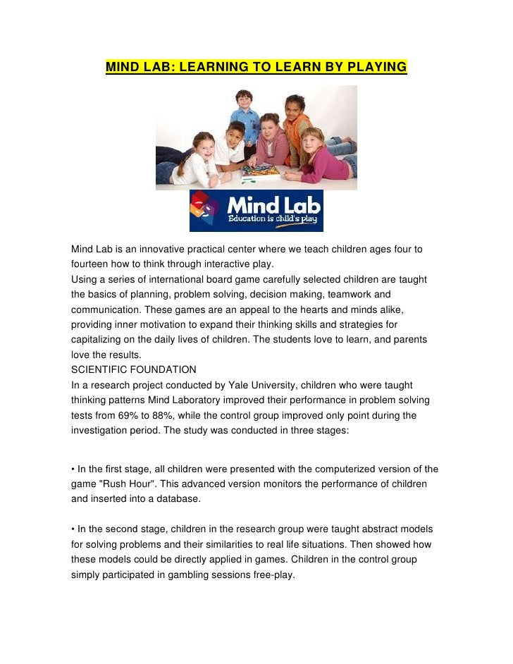 MIND LAB: LEARNING TO LEARN BY PLAYING<br />Mind Lab is an innovative practical center where we teach children ages four t...