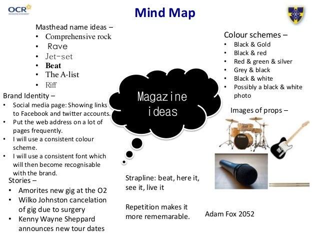 Mind Map Magazine ideas Masthead name ideas – • Comprehensive rock • Rave • Jet-set • Beat • The A-list • Riff Colour sche...