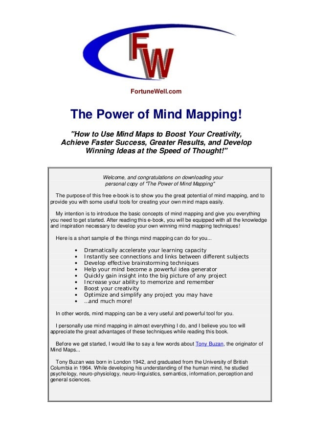 "FortuneWell.com The Power of Mind Mapping! ""How to Use Mind Maps to Boost Your Creativity, Achieve Faster Success, Greater..."