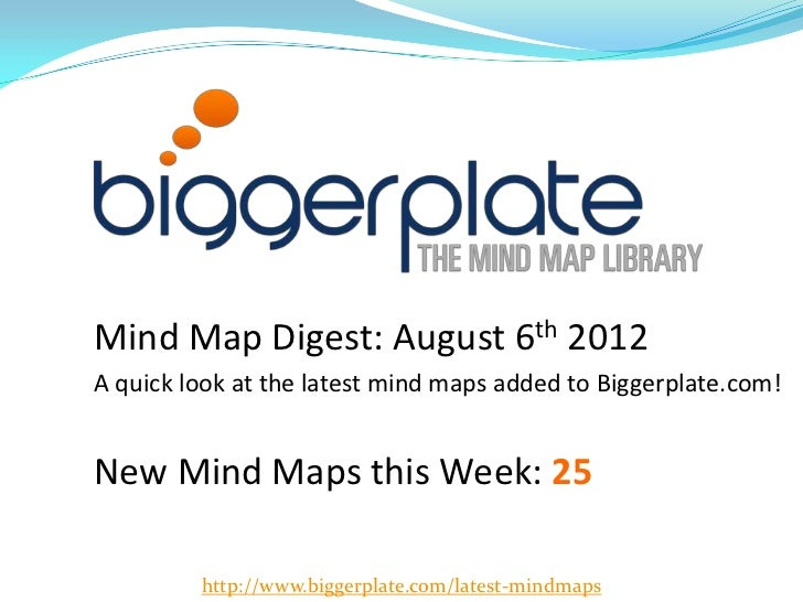 Mind Map Digest: August 6th 2012A quick look at the latest mind maps added to Biggerplate.com!New Mind Maps this Week: 25 ...