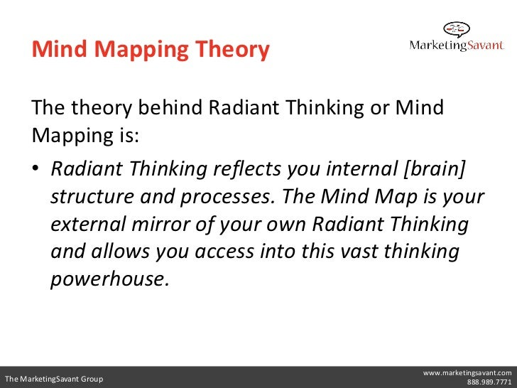 Mind Mapping Theory      The theory behind Radiant Thinking or Mind      Mapping is:      • Radiant Thinking reflects you ...