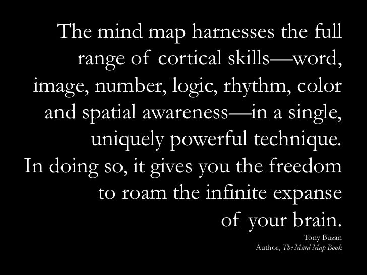 The mind map harnesses the full      range of cortical skills—word, image, number, logic, rhythm, color  and spatial aware...