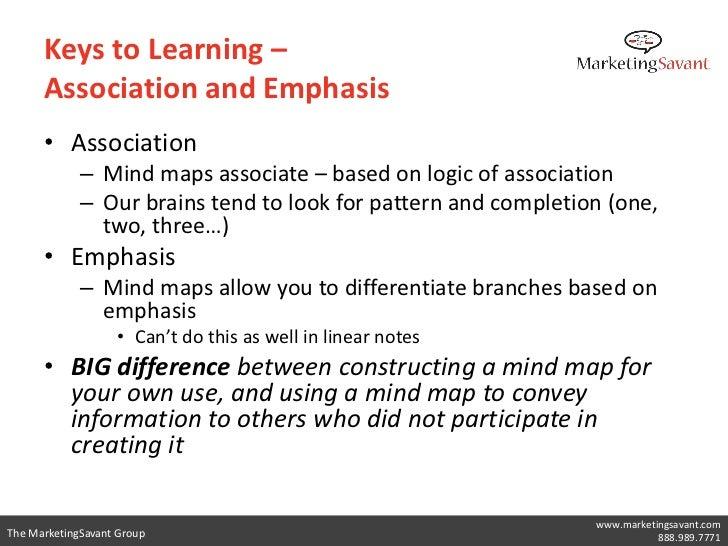 Keys to Learning –      Association and Emphasis      • Association             – Mind maps associate – based on logic of ...