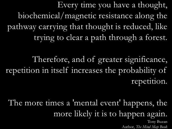 Every time you have a thought,   biochemical/magnetic resistance along thepathway carrying that thought is reduced, like  ...
