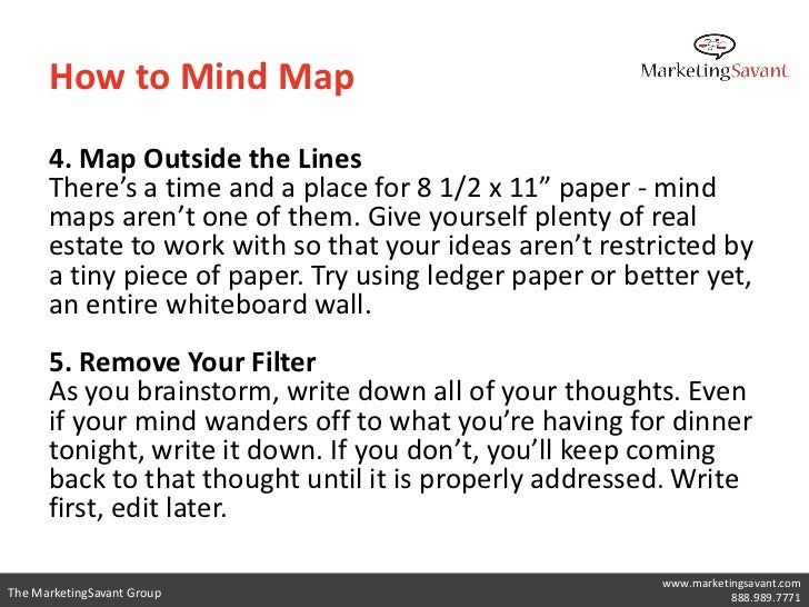 """How to Mind Map      4. Map Outside the Lines      There's a time and a place for 8 1/2 x 11"""" paper - mind      maps aren'..."""