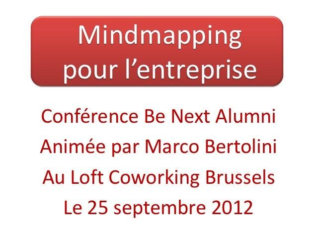 Mindmapping  pour l'entrepriseConférence Be Next AlumniAnimée par Marco BertoliniAu Loft Coworking Brussels  Le 25 septemb...