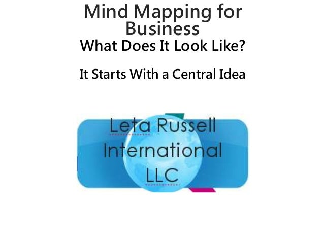 Mind Mapping for  Business  What Does It Look Like?  It Starts With a Central Idea