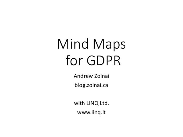 Mind Maps for GDPR Andrew Zolnai blog.zolnai.ca with LINQ Ltd. www.linq.it