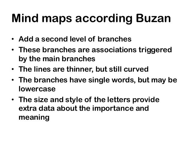 Mind maps according Buzan• Add a second level of branches• These branches are associations triggered  by the main branches...