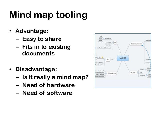 Mind map tooling• Advantage:  – Easy to share  – Fits in to existing    documents• Disadvantage:  – Is it really a mind ma...